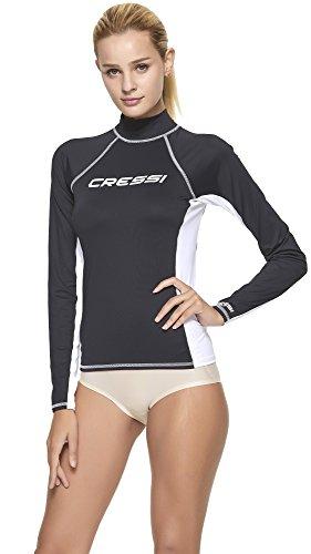 Cressi Rash Guard Long Camiseta Corta y Manga Larga en Tejido elástico, Mujer, Negro/Blanco, M/3 (40)