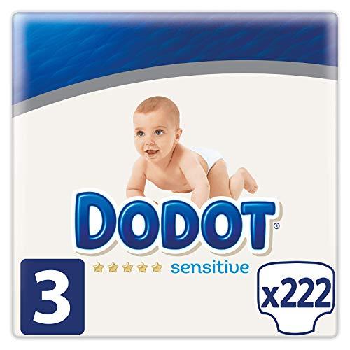 Dodot Sensitive Pañales Talla 3, 222 Pañales, 5-10kg