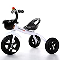 BABYGAMK Children Toddler Tricycle Tricycle 3 Wheeler Smart Design Children Bicycle Bike Boys Girls Baby Carriage Toy Car Trike Kid 3 Wheels (Color : White , Size : 57*68cm )
