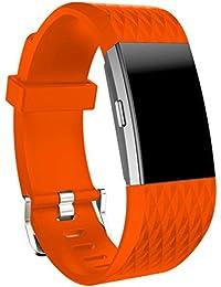 Malloom Deportes silicona correa para Fitbit Charge 2, L (Naranja)