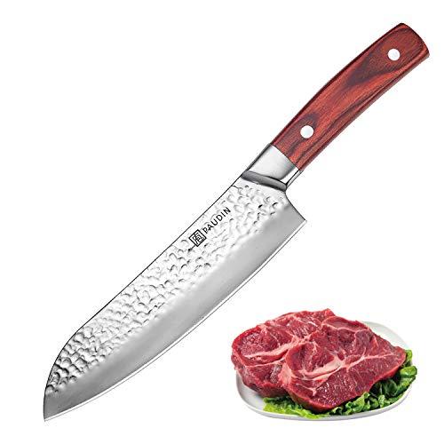 17cm, Profi Kochmesser 7Cr17Mov aus deutschem Messerstahl mit Hammerschlag, Sushi Messer Küchenmesser mit ergonomischem Griff ()