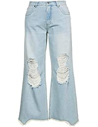 fa925001e3 Ulla Popken Women's Plus Size Pale Wash Distressed Jeans 715098