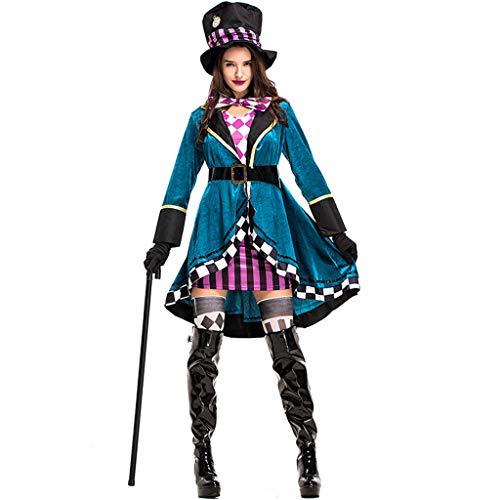 Weibliche Kostüm Zauberer - CJJC Weibliche Zauberer-Leistungs-Kleidung, Mode-Plaid-Damen-Kostüme mit Gürtel und Hut, ideal für Festival-Partei-Cosplay-Gebrauch L