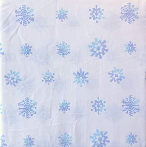 White Pine Bedding 4-teiliges Bettwäsche-Set für King-Size-Bett, extra Tiefe Taschen, Winterurlaub, geometrische Schneeflocken in Blautönen auf Weiß