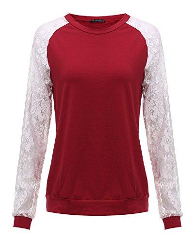 ZANZEA Damen Langarm Lace Bluse T-Shirts Tunika Hemd Tops Weinrot#