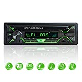Aigoss Autoradio Bluetooth Stereo Auto Car Radio FM Ricevitore 60W x 4, 5 Luci a Colori e Telecomando, Supporta MP3/ USB/SD/TF/AUX/File