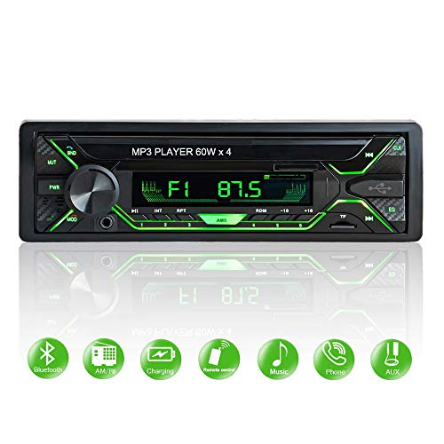 Aigoss Autoradio Bluetooth FM Radio Stéréo 60W x 4, Lecteur MP3 Poste Main Libre Voiture, Support USB/SD/TF/AUX + Télécommande, Changer Automatiquement l'affichage de la Lumière 5 Couleurs