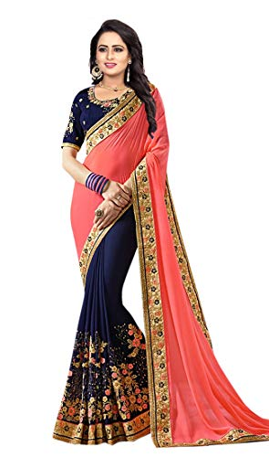 Zofey Georgette Saree With Blouse Piece (Simranpink-Sarees_Pink_Free Size)