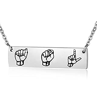 ENSIANTH ASL Necklace Sign Language Interpreter Gift Bar Necklace for Deaf (Necklace)