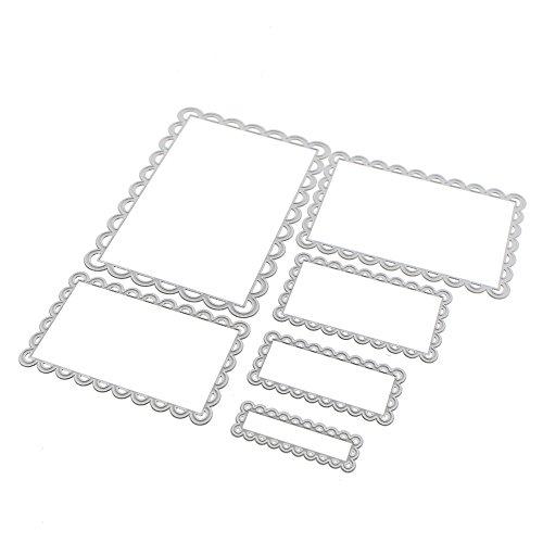 Scrapbooking dies de decoupe 6pcs Rectangle Dentelle Cutting Dies pochoirs Matrices de découpe Bricolage Album papier carte Craft