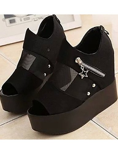 GS~LY Damen-High Heels-Lässig-PU-Keilabsatz-Wedges-Schwarz / Weiß white-us7.5 / eu38 / uk5.5 / cn38