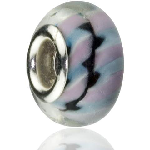 Hidden Gems x 1-Charme europeo placcato argento con uccelli selvatici di rosa e blu