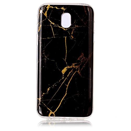 Coffeetreehouse Coque Samsung Galaxy J5 2017 Étui protecteur avec motif de marbre,étui mince, Anti-choc TPU silicone Coque pour Samsung Galaxy J5 2017-noir