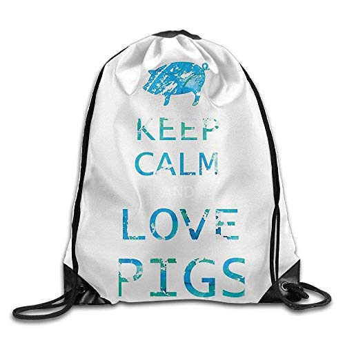 HLKPE Keep Calm and Love Pigs Drawstring Bags Cute Backpack Shoulder Bags Gym Sport Pack