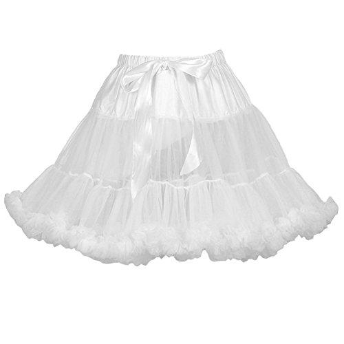 AMORETU Damen Puff Röcke Tüll Erwachsene 2 Lage Prinzessin Petticoat Unterrock Weiß (Rüschen Tüll)