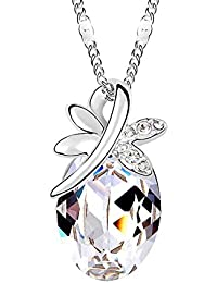 Silver Crystal Butterfly Teardrop Pendant Necklace Made with Swarovski Crystal, with a Gift Box