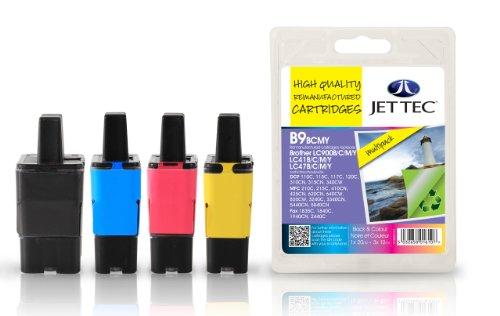 Jet Tec BRLC900VALBP Tintenpatrone für Brother LC900, Multipack, schwarz/cyan/magenta/gelb