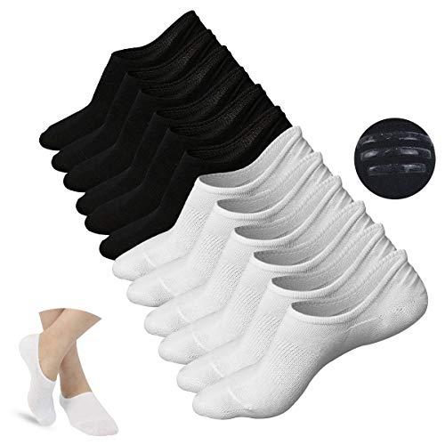 JORYEE Damen Unsichtbare Socken - 6/10 Paar Füßlinge Baumwoll Sneaker Socken atmungsaktiv mit Rutschfest Silikon (Schwarz+Weiß) (Sperrys Für Frauen Schwarz Und Weiß)