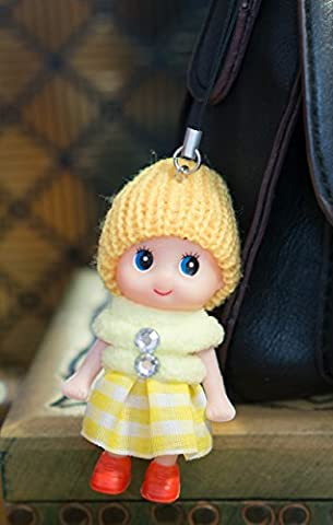 Ddung Porte-clés Poupée en bottes et jupe en laine, jaune, 8cm heads to toes