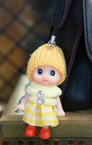 Schlüsselanhänger Ddung Puppe, mit süßen Stiefeln und Rock, mit Strass, unschuldiger Look, Spielzeug, weicher flauschiger Baumwollstrick, gelb, 8cm heads to toes (Damen Furry Stiefel)