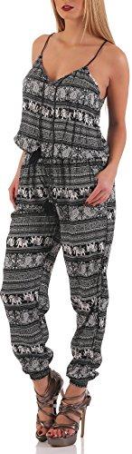 malito Jumpsuit Body long dans le Oriental Design 016-27 Femme Taille Unique Noir
