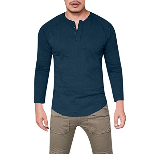 PAOLIAN Herren Freizeithemd V-Ausschnitt Slim Fit Baumwolle Große Größen Lässig Muskel Einfarbig Rundhalsausschnitt Langarm Tops Bluse T-Shirts -