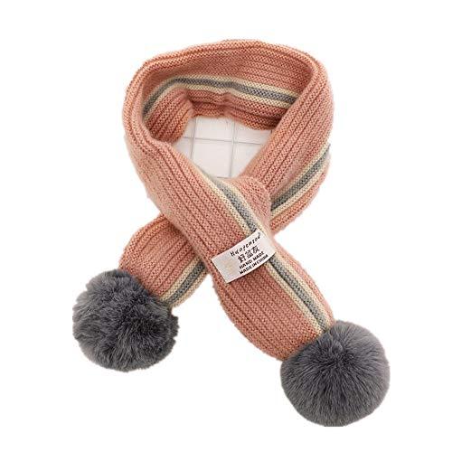 Easy Go Shopping New Dick gestrickte Winter warme Kleinkind Infinity Schal Chunky Halswärmer mit Pom Pom Ball für Neugeborenes Baby (Farbe : Pink Stripe) (Kinder Infinity-schals)