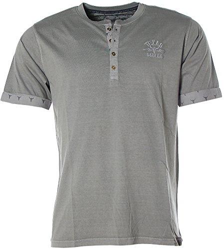 Kitaro Herren Kurzarm Shirt T-Shirt Rundhals -Texas Skulls- Castlerock Grey