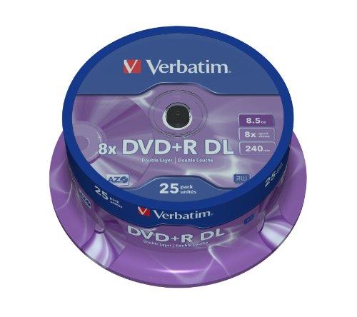 dvd 8gb Verbatim 43757 DVD+R Double Layer 8x Speed 8,5 GB 25er Spindel silber