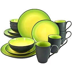 Creatable 20220 - Vajilla (16 Piezas, Piedra, 34 x 31,5 x 33 cm), Color Verde