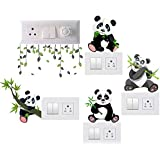 GLOBAL GRAPHICS Switch Penal Sticker of Cute Baby Panda and Panda Hanging Tree with Branch for decoretive Your home's Switch Board(PVC Vinyl Sticker, Multicolor)