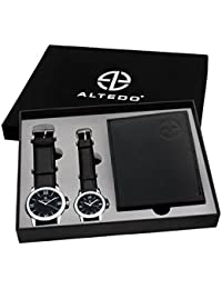 Altedo Giftset - Black Dial Couple's Watch & Men's Wallet - Combo Pack for Couple