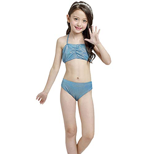 Mädchen Meerjungfrau Schwanz Bademode 3 Stück Bikini Cosplay Meerjungfrau Flosse- Prinzessin Bling Bling Badebekleidung Sommer Schwimmbad