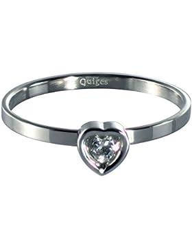Quiges Edelstahl Stapelring Füllring Herz mit Zirkonia 2mm Höhe (verschiedene Ringgrößen und -farben)