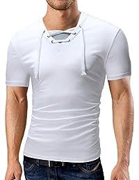 fe44222fe3580 LuckyGirls Camisetas Hombre Manga Corta Verano Colorblock Cuello en V Personalidad  Originales Polos Remera Slim Moda