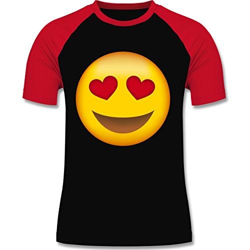 Comic Shirts - Verliebter Emoji - zweifarbiges Baseballshirt für Männer Schwarz/Rot