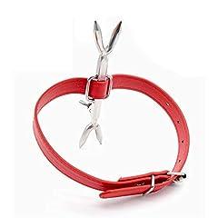 Idea Regalo - Yocitoy Girocollo ampio in pelle liscia da donna con borchie e spuntoni e collo a blocco Colletto in pelle gotico Guinzaglio erotico SM cosplay Red