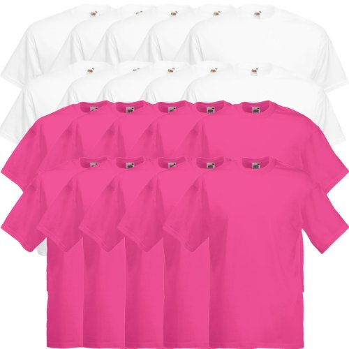 Fruit of the Loom Original Valueweight T Rundhals T-Shirt F140 5er 10er 15er 20er Pack 10x white 10x fuchsia