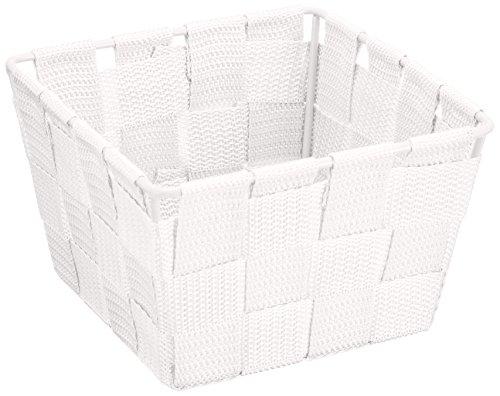 WENKO 20369100 Aufbewahrungskorb Adria Mini Weiß - Badkorb, quadratisch, Kunststoff-Geflecht, Polypropylen, 14 x 9 x 14 cm, Weiß