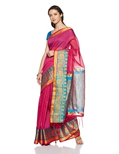 Aalia Art Silk Saree With Blouse Piece (21249!_Dark Pink!_One size)