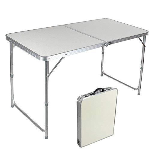 Jason 4FT Aluminium Folding Camping Klapptisch Campingtisch klappbarer Bestelltisch Faltbarer Tisch Falttisch Gartentisch Outdoor Garten Party Urlaub Picknick BBQ Arbeit Tisch 120x60x70cm
