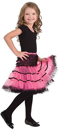 Bristol Novelty CC933 Reifrock, Rosa/Schwarz Girls Pink, Einheitsgröße (Rosa Pudel Rock Kostüm)