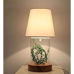 MEIDI Home Cubierta de Tela de Madera Maciza Lámpara de Mesa de Vidrio Dormitorio escandinavo Junto a la Cama