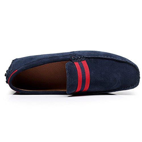 Shenn Homme Décontractée Scratch Plateforme Appartements Mocassins Chaussures Bleu Marin
