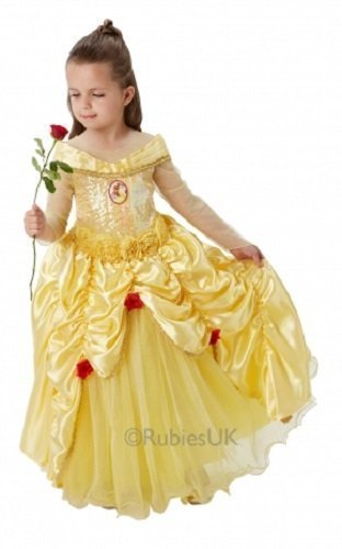 Offiziell Disney Mädchen Super Luxus Pailletten Märchenprinzessin büchertag Woche Halloween Kostüm Kleid Outfit - Belle, 7-8 (Für Halloween Kostüm Belle Kinder)