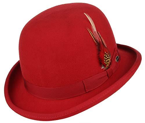 GEMVIE Herren Vintage Feder Top Hut Classic Roll Up Bowler Hut Party Kostüm Zubehör Rot - Rot - MEDIUM (Red Bowler Hut Kostüm)