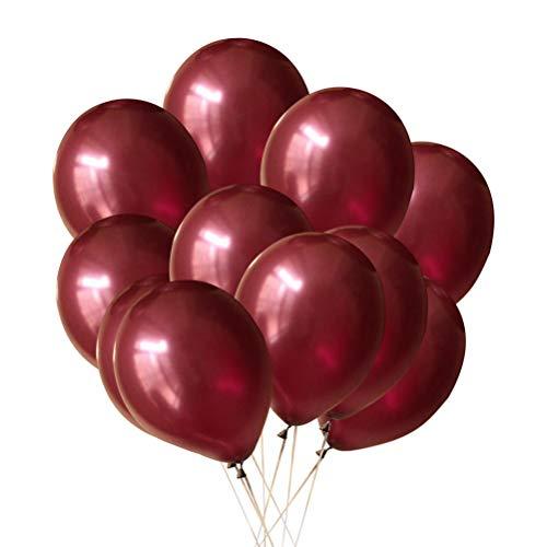 YeahiBaby 100 Stück Weinrot Luftballons Latex Helium Ballon Hochzeit Geburtstag Party Dekoration Supplies