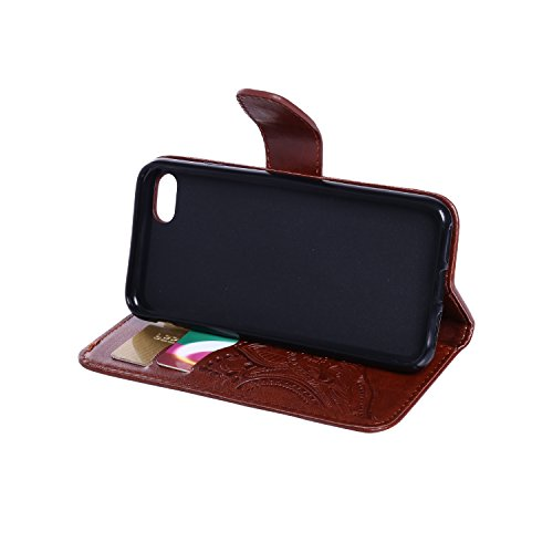 CaseHome iPhone 7 4.7'' Hülle Geprägter Henna Blume Muster Buch-Stil Folio Magnetic Schließung Portemonnaie Stilvolle Elegante Entwurf (Mit Freiem HD Schirmschutz) mit Kreditkartensteckplätze und Abne Braun