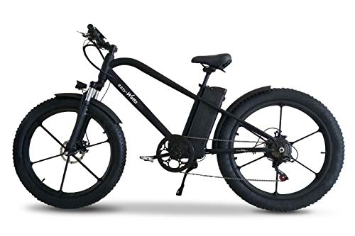 Easy-Watts Fatbike Vélo à Assistance Électrique VAE VTT Batterie Amovible Samsung 36V 10,4Ah Transmission Shimano Freins Tektro Autonomie 50 KM Vitesse Max 25 km/h Norme CE Garantie 2 Ans e-Fat (Noir)