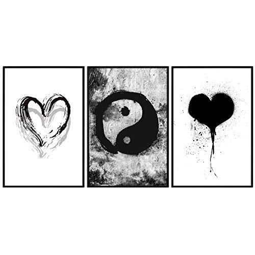 decomonkey | Poster 3er – Set schwarz-weiß Abstrakt Kunstdruck Wandbild Print Bilder Kunstposter Wandposter Posterset Herz Graffiti Yin Yang Urbanart Streetart Moderne Kunst